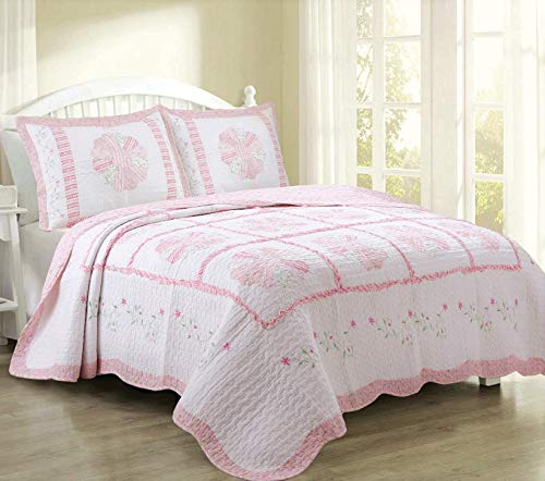 Cozy Line Home Fashions Daisy Field Bedding Quilt Set, Pink White Flower Floral Embroidered Real Patchwork 100% Cotton Reversible Coverlet Bedspread, Gifts for Kids Girl Women (Pink, Twin - 3 Piece) by Cozy Line Home Fashions