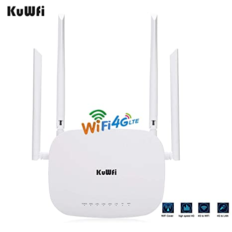 Amazon.com: KuWFi 4G LTE SIM WiFi Router 300Mbps Unlocked ...