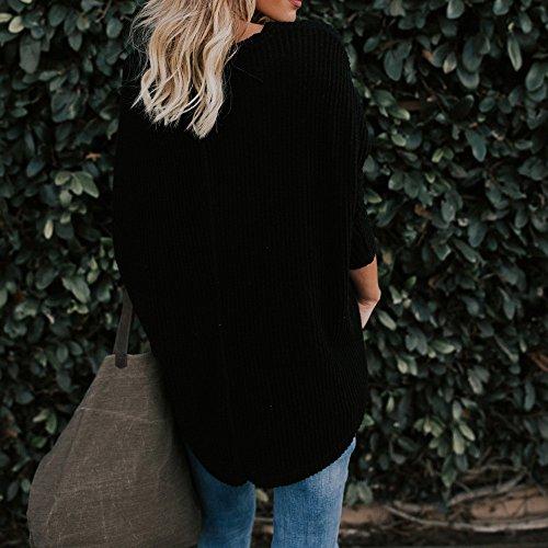 Longue Boutonn Shirt Tricot Shirt Chemise Tunique Col Manche Chic Col Lache Blouse Chemise Tops Sexy en Chic Femme Henley Tunique Femme Top Chemisier Sweat Tie Noir Knot Sweat Blouse en V qrwfftYP