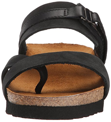 Women Leather Black Wedge Sandal Jessica NAOT Black Nubuck Shiny SxqF7F