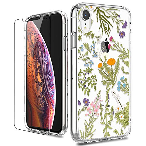 - iPhone XR Cases, LUHOURI iPhone XR Phone Case with Glass Screen Protector, Girls and Women Clear Floral Slim Protective Hard PC Back Ultra-Thin Shockproof TPU Bumper Flower Case Cover