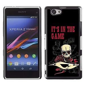 LASTONE PHONE CASE / Diseño de Delgado Duro PC / Aluminio Caso Carcasa Funda para Sony Xperia Z1 Compact D5503 / It's In The Game Casino Poker Skull