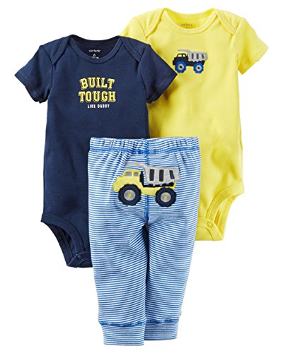 Carter's Baby Boys' 3 Piece Take Me Away Set (Baby) - Built Tough, 6 Months