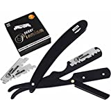 Professional Barber Straight Edge Razor Safety with 100 Derby Blades - 100 Percent Stainless Steel - by Utopia Care (Black)