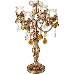 "Kensington Hill Golden Droplets 19 1/2"" High Candelabra Votive Candle Holder"