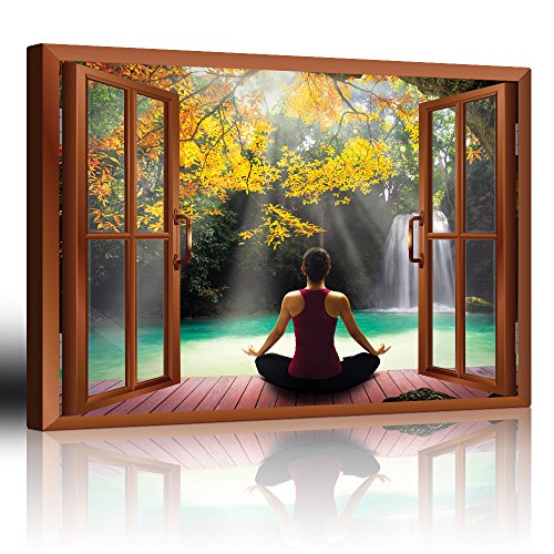 Copper Window Looking Out Into a Woman Meditating by a Lake with a Waterfall