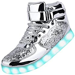 Brightsilver High Top Light Up Sneakers