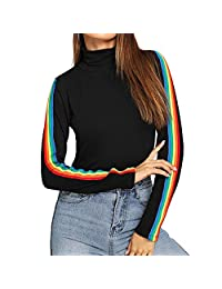 Womens Sweater Rainbow Stretchy Long Sleeve Turtleneck Pullover Top AfterSo
