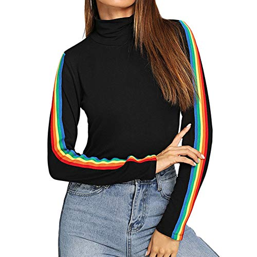 PERFURM Shirt Clearance Women Long Sleeve Rainbow Patchwork O Neck Crop Top Long Sleeve Casual Blouse Pullover Top ()
