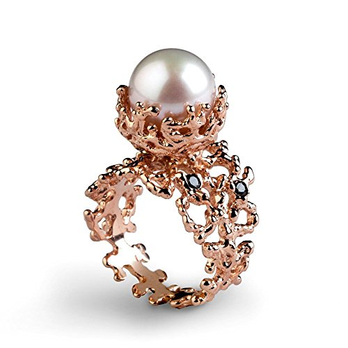 14k Rose Gold Large 12mm Freshwater Cultured White Pearl Genuine Black Diamond Gemstone, Organic Coral Reef Engagement Ring, Size 4 to - 12mm Pearl Diamond