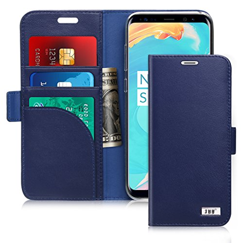 FYY [Genuine Leather Wallet Case for Samsung Galaxy S8+ Plus 2017, Handmade Flip Folio Wallet Case with Kickstand Card Slots Magnetic Closure for Samsung Galaxy S8+ Plus 2017 Navy Blue