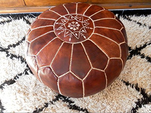 Premium Handmade Dark Brown Tobacco poufs Moroccan Leather Pouf,Ottoman Footstool Hassock 100% real Natural Leather pouffe,Home gifts, wedding gifts, foot stool (Poof Leather Ottoman)