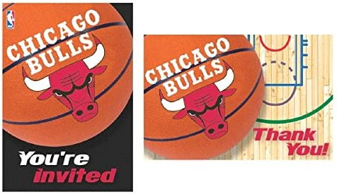"""""""Chicago Bulls NBA Collection"""" Party Invitation and Thank You Cards"""