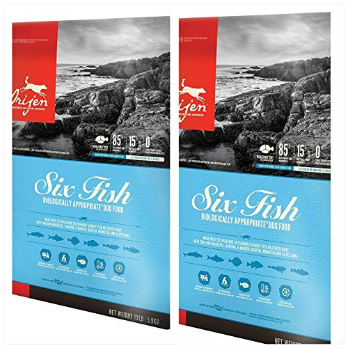 Orijen 2 Pack Six Fish Formula Dry Dog Food 13 lbs. Ea 2 Bags = 26 Pounds ()