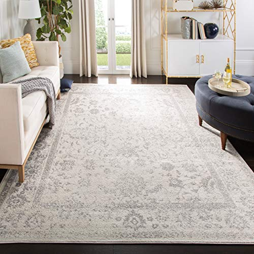 Safavieh Adirondack Collection ADR109C Ivory and Silver Oriental Vintage Distressed Area Rug (10' x 14') (Rugs 10x14)