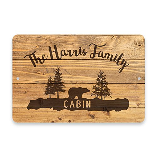 Personalized Rustic Wood Plank Cabin Metal Room Sign (Cabin Personalized)