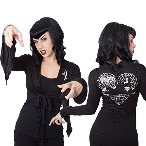 Medium Women's Vampira Web Heart Tie Top Kreepsville Fashion Gothic Horror