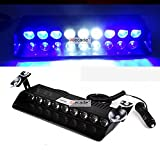 Wecade® 9 Led 9w Car Truck Strobe Windshield Dash Lights 16 Pattern Super Bright for EMS Law Enforcement Warning LED Strobe Lights (Blue/White/Blue)