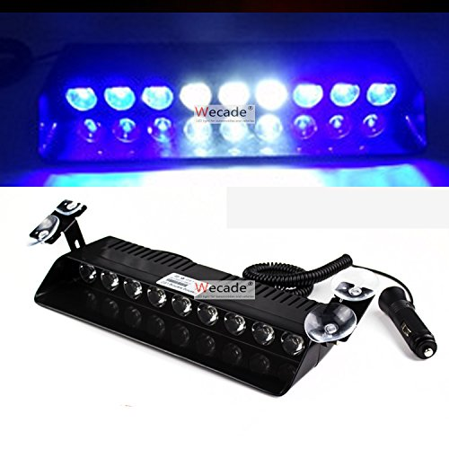Wecade® 9 Led 9w Car Truck Strobe Windshield Dash Lights 16 Pattern Super Bright for EMS Law Enforcement Warning LED Strobe Lights (Blue/White/Blue)