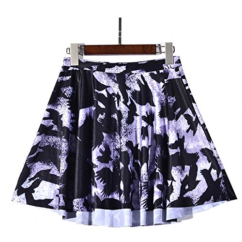 Newport Spandex Skirt - YoungG-3D New Sexy Women's High Waist Crow Graffiti Skirts Digital Printed Stretch Skirt Flared Picture Color S