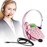 AGPtek Call Center Dialpad Headset Pink Telephone with Tone Dial Key Pad & REDIAL