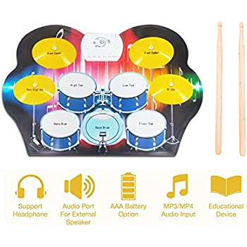 Electronic Drum Pad-- Roll Up Electric Drum Set Big Size 9 Pad with Drum 2 Sticks and 2 Foot Pedals Foldable Portable, with Headphone Jack, Record Function for Kids and Drum Beginners By Vafoream