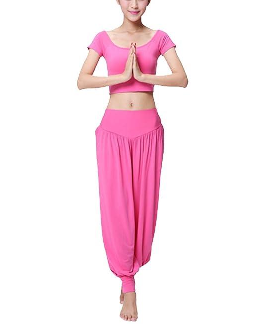 Mujer Deporte Trajes Chándal Camiseta De Manga Corta Y Soft Pantalones para Yoga Fitness Danza del Vientre