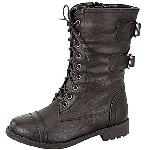 Lucky Top Pack-72K Girls Military Lace Up Mid Calf Boot Black (Army Boots For Kids)