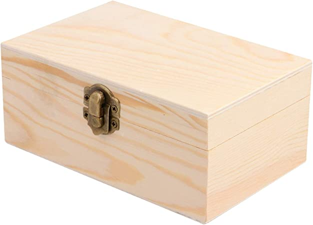 Supvox Wood Box Decorative Vintage Wooden Box With Hinged Lid And Front Clasp For Arts Jewelry Hobbies Home Storage Empty