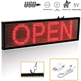 Leadleds 1664R Red LED Sign Board, P5 WiFi Scrolling LED Signs Indoor for Storefront, Shop, Car