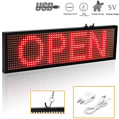 Leadleds K1664R Red USB/WIFI Programmable LED Sign Messag...