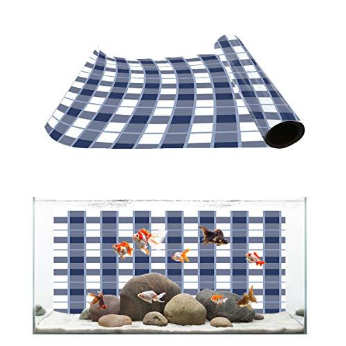 (T&H Home Aquarium Décor Backgrounds - Blue and White Lattice Geometric Plaid Stripe Fish Tank Background Aquarium Sticker Wallpaper Decoration Picture PVC Adhesive Poster, 36.4