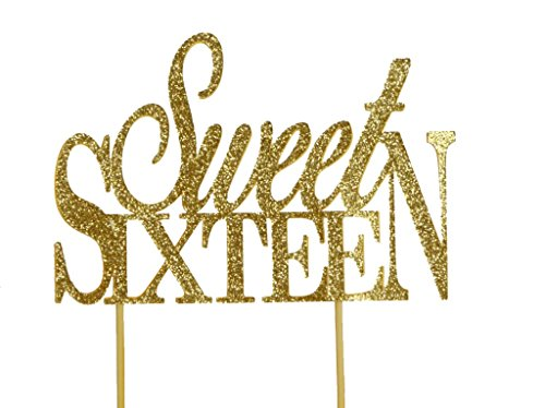 All About Details Gold Sweet-sixteen Cake Topper