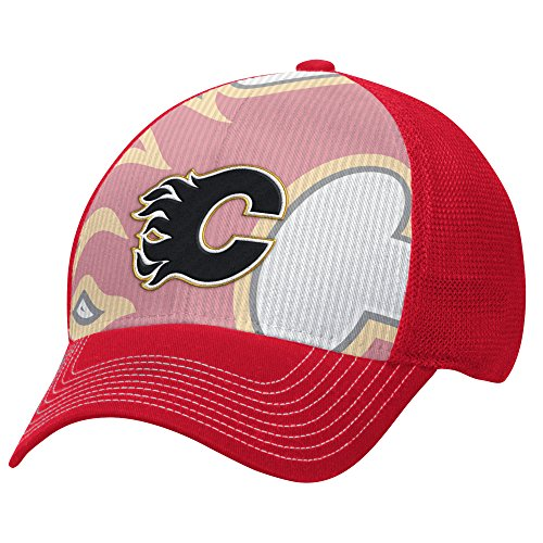 NHL Calgary Flames Men's Face-Off Formation Structured Flex Cap, Large/X-Large, Red