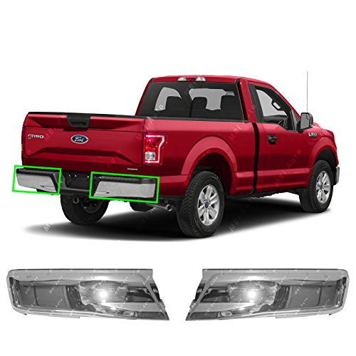 MBI AUTO - Chrome Steel, Left & Right Rear Bumper Ends (2 Piece Set) for 2015 2016 2017 Ford F150 Pickup, FO1102380