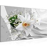 Bilder-3D-Blumen-Lilie-Wandbild-Vlies-Leinwand-Bild-XXL-Format-Wandbilder-Wohnzimmer-Wohnung-Deko-Kunstdrucke-70-x-40-cm-Wei-1-Teilig-100-MADE-IN-GERMANY-Fertig-zum-Aufhngen-210314a