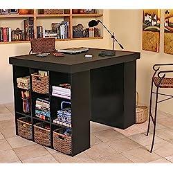 Venture Horizon Project Center Desk with 2 Bookcase Sides-Black