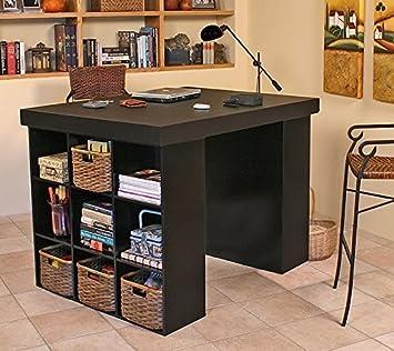 Venture Horizon Project Center Desk With 2 Bookcase Sides Black