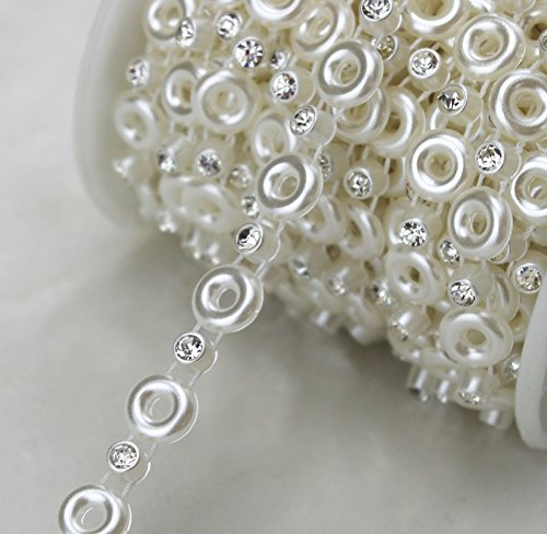 AEAOA 8mm Ivory Circle Pearl and Rhinestone Chain Sewing Trims Cake Decoration (LZ117)