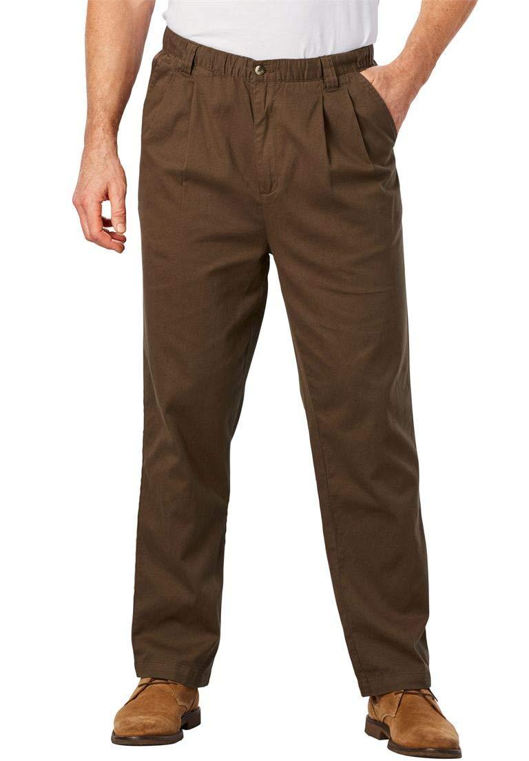 KingSize Men's Big & Tall Knockarounds Pleated Pants in Twill Denim, Dark