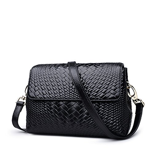 Genuine Women Purse Weave for Handbags Leather Black Crossbody Ladies Shoulder ZOOLER Bags TOYdqd