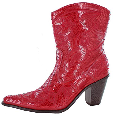 Helens Heart Women's Sparkle Sequin Bling Short Western Cowgirl Boots Red Size 10