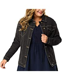 Women's Plus Size Button Down Washed Denim Jacket with Chest Flap Pocket
