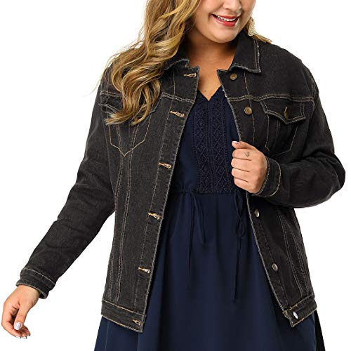 (uxcell Women's Plus Size Button Down Washed Denim Jacket with Chest Flap Pocket Blacks 1X)