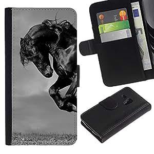 KingStore / Leather Etui en cuir / Samsung Galaxy S3 MINI 8190 / Mustang Mane Gallop Stallion