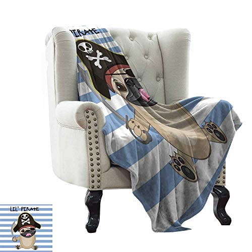 BelleAckerman Knit Blanket Pirate,Buccaneer Dog in Cartoon Style Costume Lil Pirate Striped Backdrop Funny Animal,Multicolor All Seasons Anti-Static Couch Blanket Travelling Camping Blanket 60