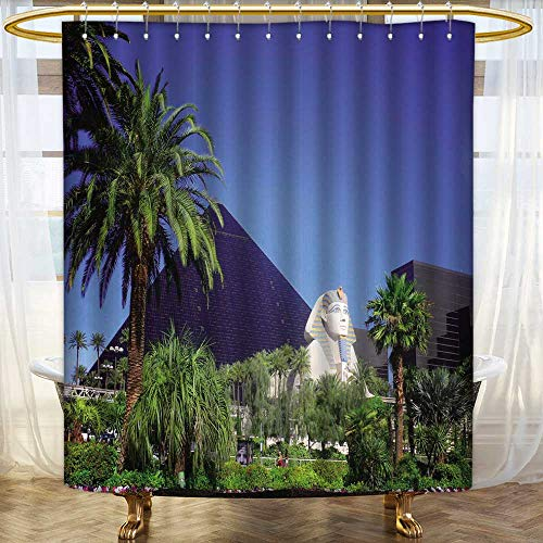 Jiahonghome Shower Curtains 3D Digital Printing Luxor Hotel Casino on Las Vegas Strip Bathroom Set with Hooks Size:W84 x L72 inch