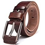 Men's 100% Italian Cow Leather Belt Men With Anti-Scratch Buckle,Packed in a Box (Type 3, 105CM (waistline:28''- 33''))