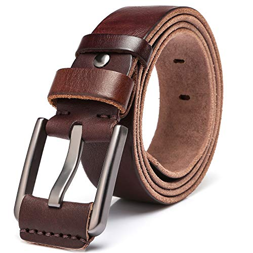Men's 100% Italian Cow Leather Belt Men With Anti-Scratch Buckle,Packed in a Box (Type 3, 105CM (waistline:28''- 33'')) ()