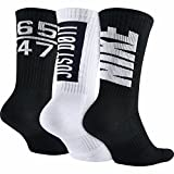 Nike Men's Dri-FIT Fly V4 Crew Basketball Socks Black/White Medium 6-8
